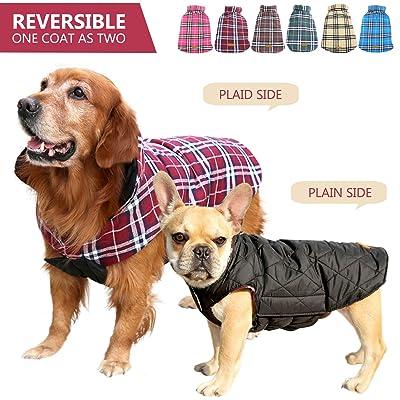 Kuoser Cozy Waterproof Windproof Reversible British Style Plaid Dog Vest Winter Coat