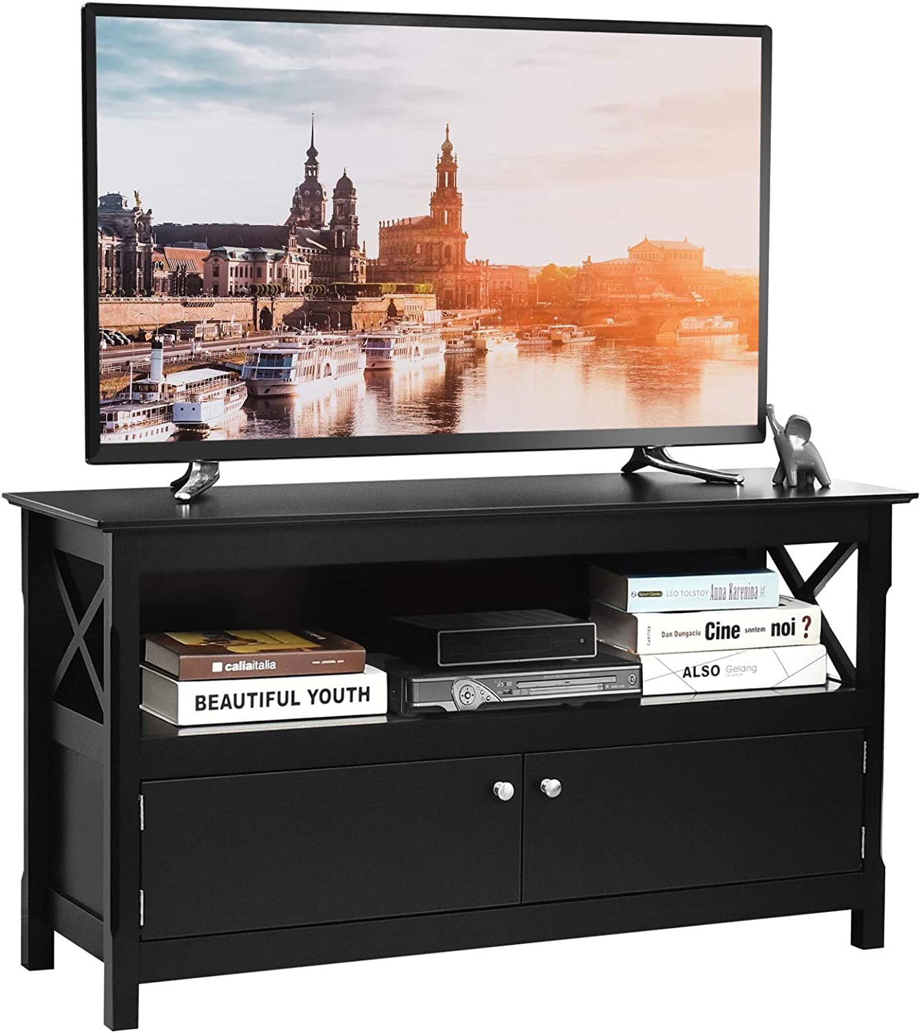 Tangkula TV Stand for TVs Up to 48 Inches, Entertainment Center with Shelf and 2 Doors, Home Living Room Furniture, TV Storage Console Table for Living Room and Bedroom
