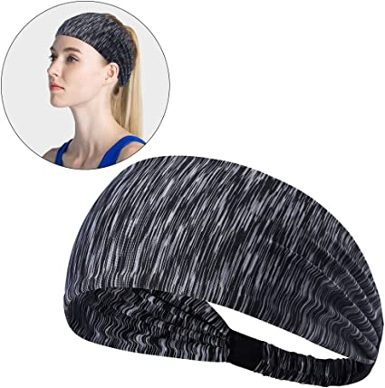 Sports Yoga Cycling Absorbent Sweatband Wide Headband Elastic Head Wrap Headwear