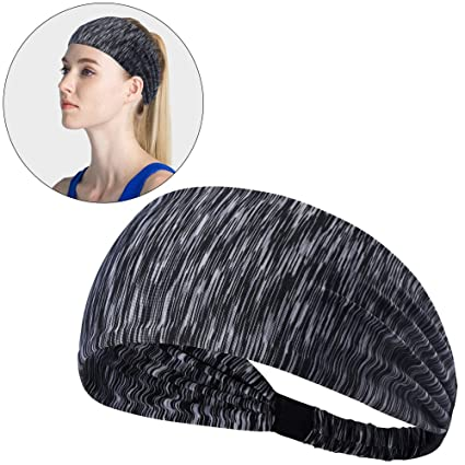 Hisight Sweatbands Sports Headbands Fashion Elastic Wicking Non Slip Head  Wrap Ideal for Yoga Cycling 7b8690a283f