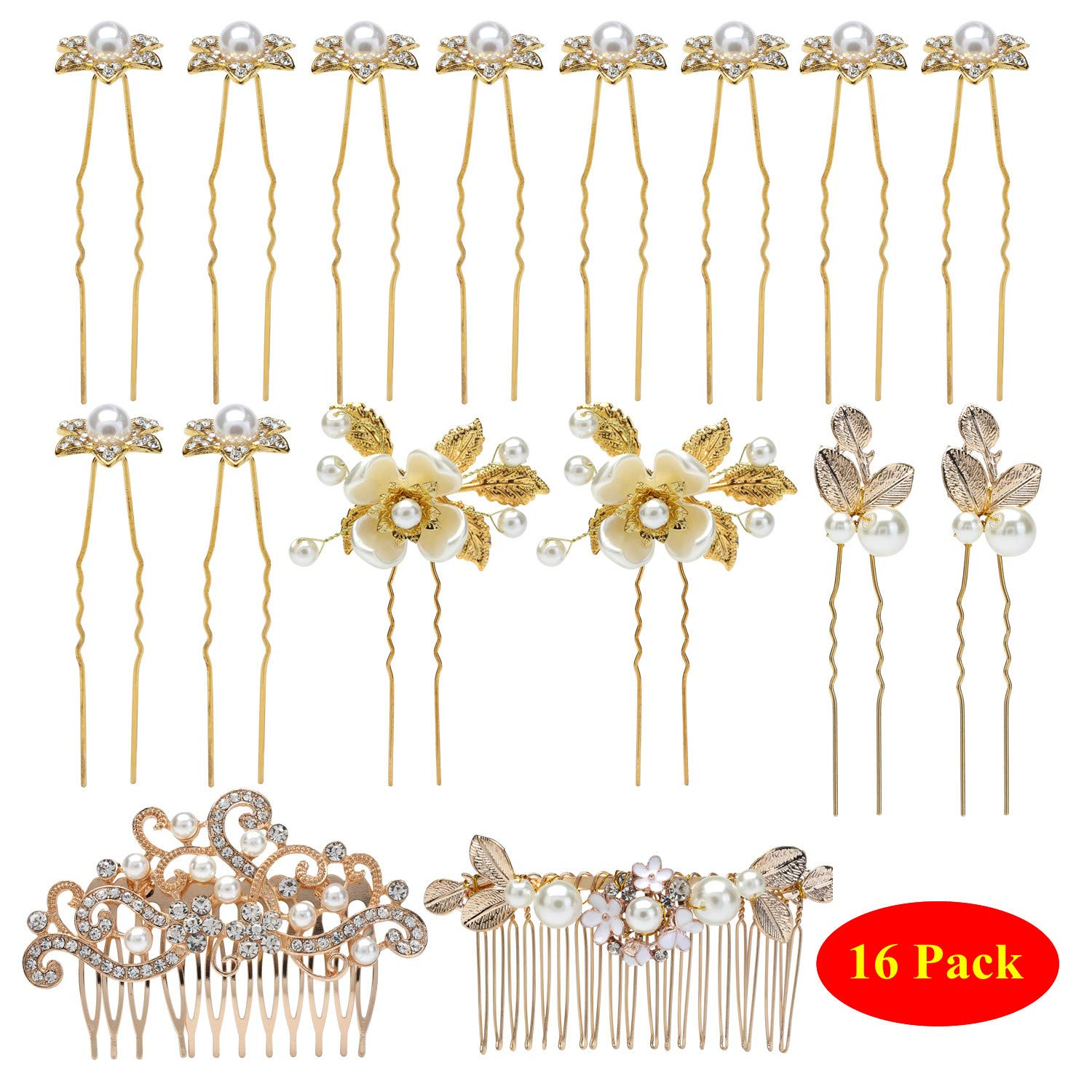 inSowni 16 Pack Wedding Headpieces Hair Side Combs+U Shaped Hair Pins Clips Pieces Barrettes Accessories Rhinestone Pearl Flower Gold for Women Girls Brides Bridsmaids