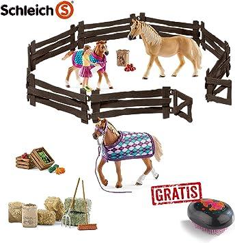 SCHLEICH Reiterhof 2 Stuten & 1 Fohlen + Zaun und viel