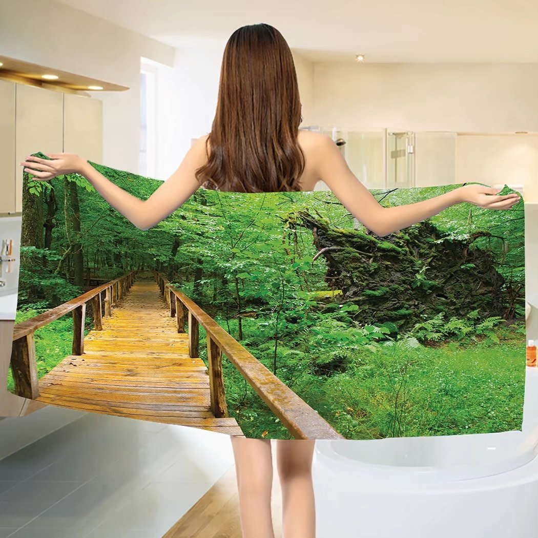 Forest Bath towel Wood Trail in Fresh Forest Jungle after the Rain Tropical Environment Eco Adventure Cotton Beach Towel Brown Green (55''x28'')
