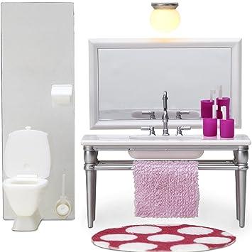 Puppenhaus Zubehör Badezimmer Toilette, Waschtisch mit großem ...