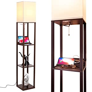 Brightech Maxwell Charging Edition - LED Shelf Floor Lamp for Living Rooms & Bedrooms - Includes USB Ports & Electric Outlet - Modern Standing Light - Asian Display Shelves - Havana Brown