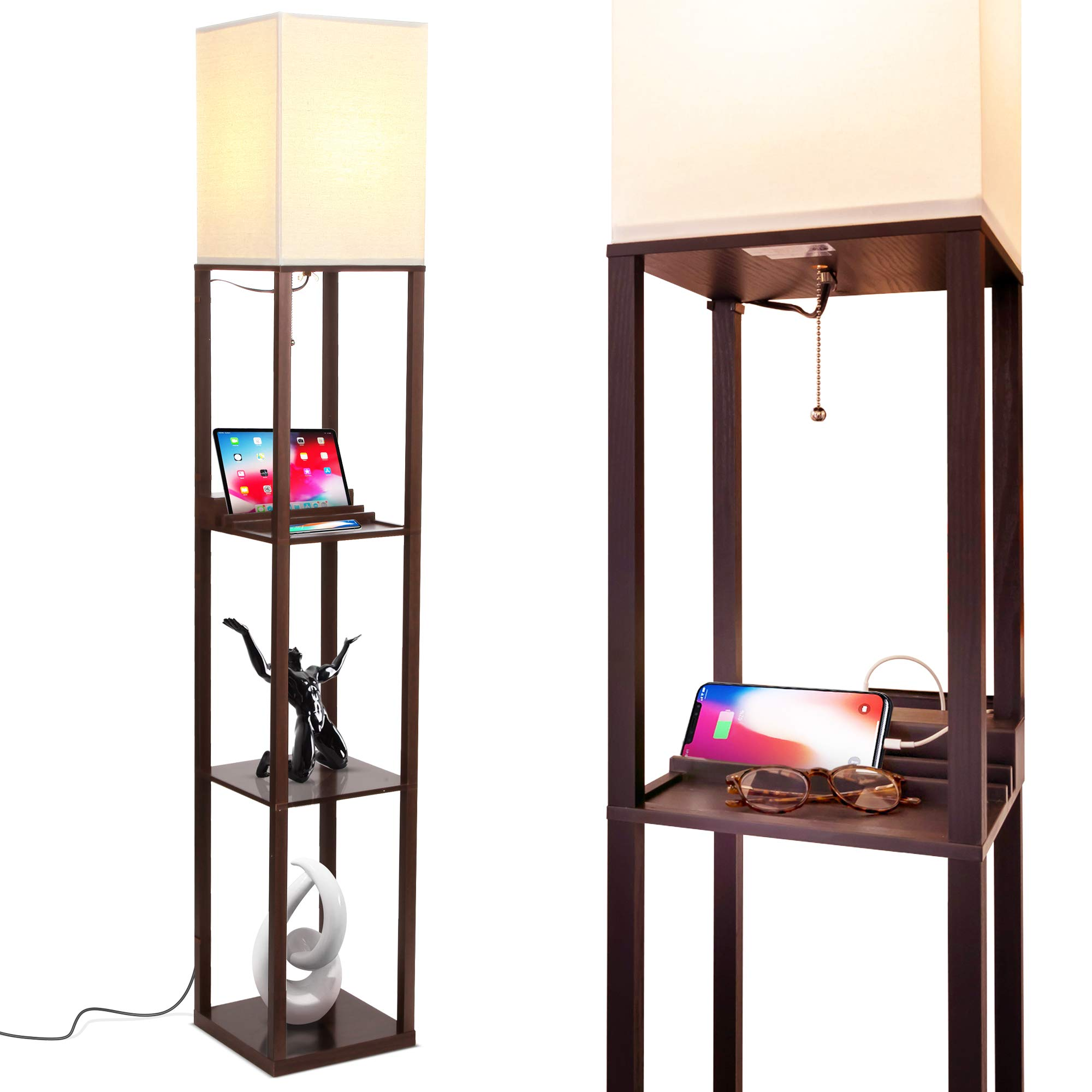 Brightech Maxwell Charging Edition - LED Shelf Floor Lamp for Living Rooms & Bedrooms - Includes USB Ports & Electric Outlet - Modern Standing Light - Asian Display Shelves - Havana Brown by Brightech (Image #1)