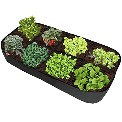 ASSR Fabric Raised Garden Bed, 135 Gallon 8 Holes Rectangle Breathable Planting Container Grow Bag Planter Pot for Plants, Flowers and Vegetables : Garden & Outdoor