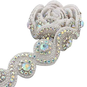 1 Jardin Boda Correa Abalorios Pedreria Hechos a Mano con Cristales Corte Nupcial Brillo Elegante por