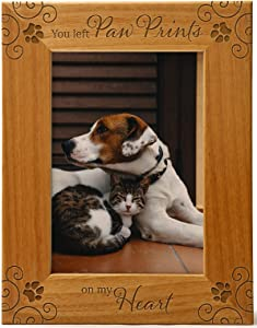 Cedar Crate Market You Left Paw Prints On My Heart, Pet Memorial Picture Frame Engraved Natural Wood Fits a 5x7 Vertical Portrait, Frame for Condolence for Animal Lovers to Keep Memories Alive