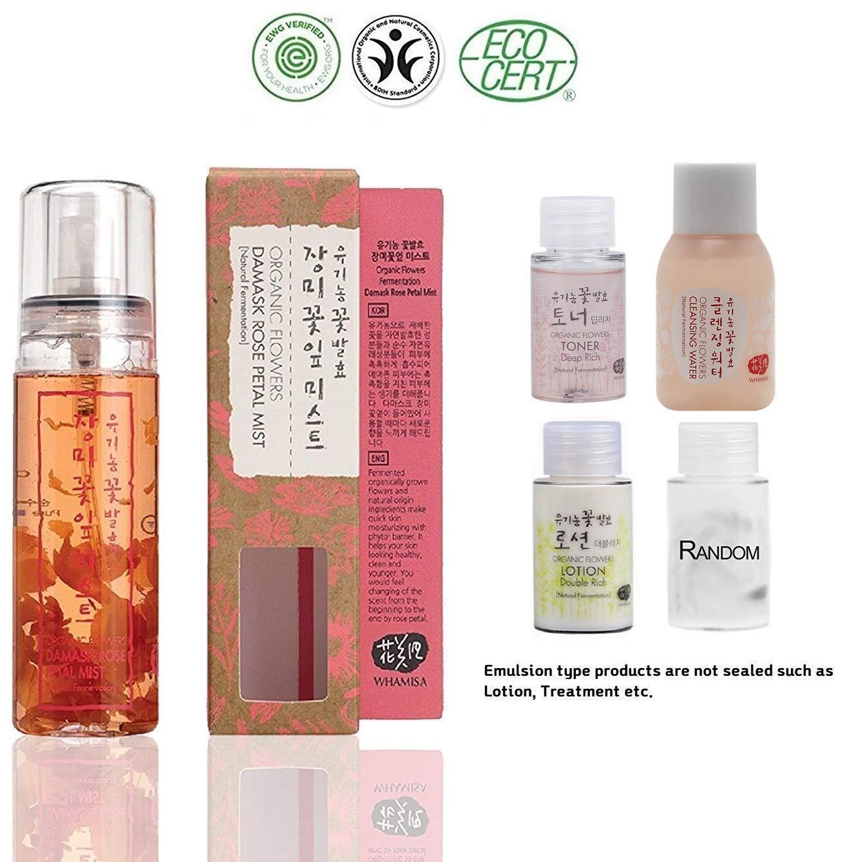 Whamisa [ Skin Care Kit ] Organic Flowers Damask Rose Petal Mist 80ml / Deep rich Toner and Lotion 20ml each/Cleanser 20ml / Random 1 Miniature - Naturally fermented, EWG Verified | BDIH Certifed