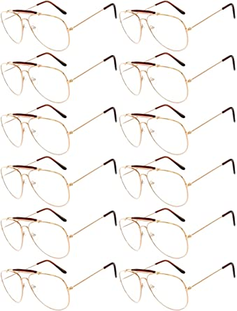 f685f1b8a5 Image Unavailable. Image not available for. Color  12 Pairs Classic Aviator  Sunglasses Metal Gold Silver ...