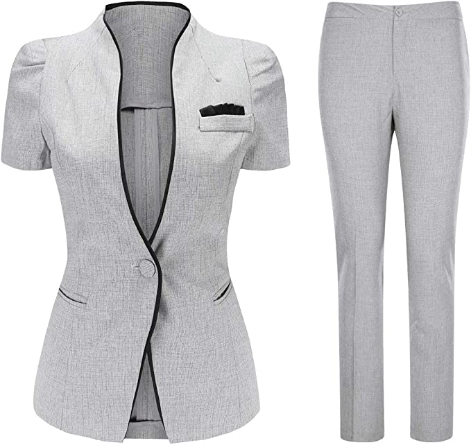 YYNUDA Damen Hosenanzug Business 2 Tellig Anzug Slim Fit