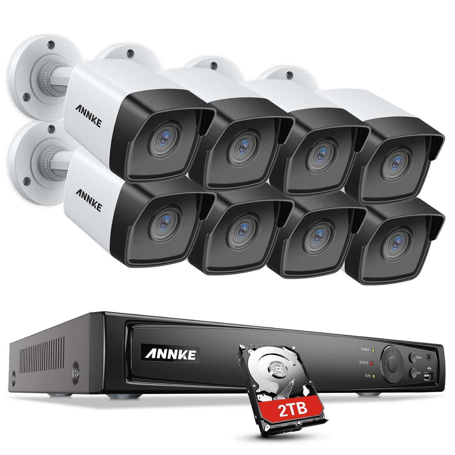 ANNKE 5MP PoE Home Security Camera System H.265+ 8CH 4K NVR with 8pcs 5MP Outdoor PoE IP Cameras, Starlight Color Night Vision, IP67 Weatherproof, Easy Remote Access, 2T HDD Store More Video by ANNKE