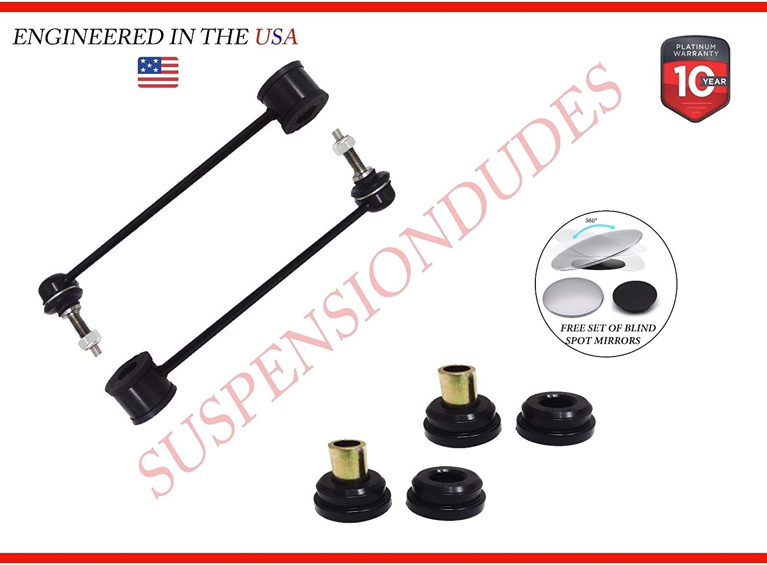 4PC Front Sway Bar Links+Bushings 2007-15 Jeep Patriot 2007-11 Dodge Caliber