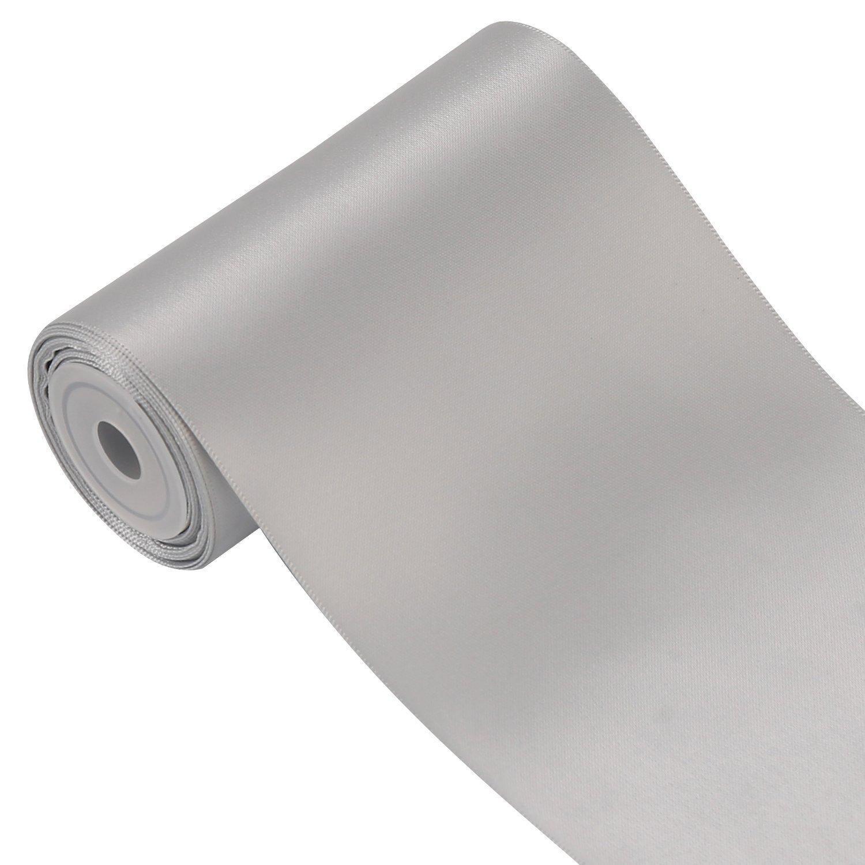 RUSPEPA 100 mm Large Solid Color Double Face Ruban Satin 4,5 M/ètres//Spool 007 Argent/é