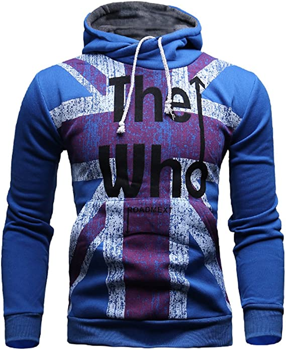 Mooncolour Mens Novelty Color Block Hoodies Cozy Sport Autumn Outwear - The Who, Royal Blue, US Medium