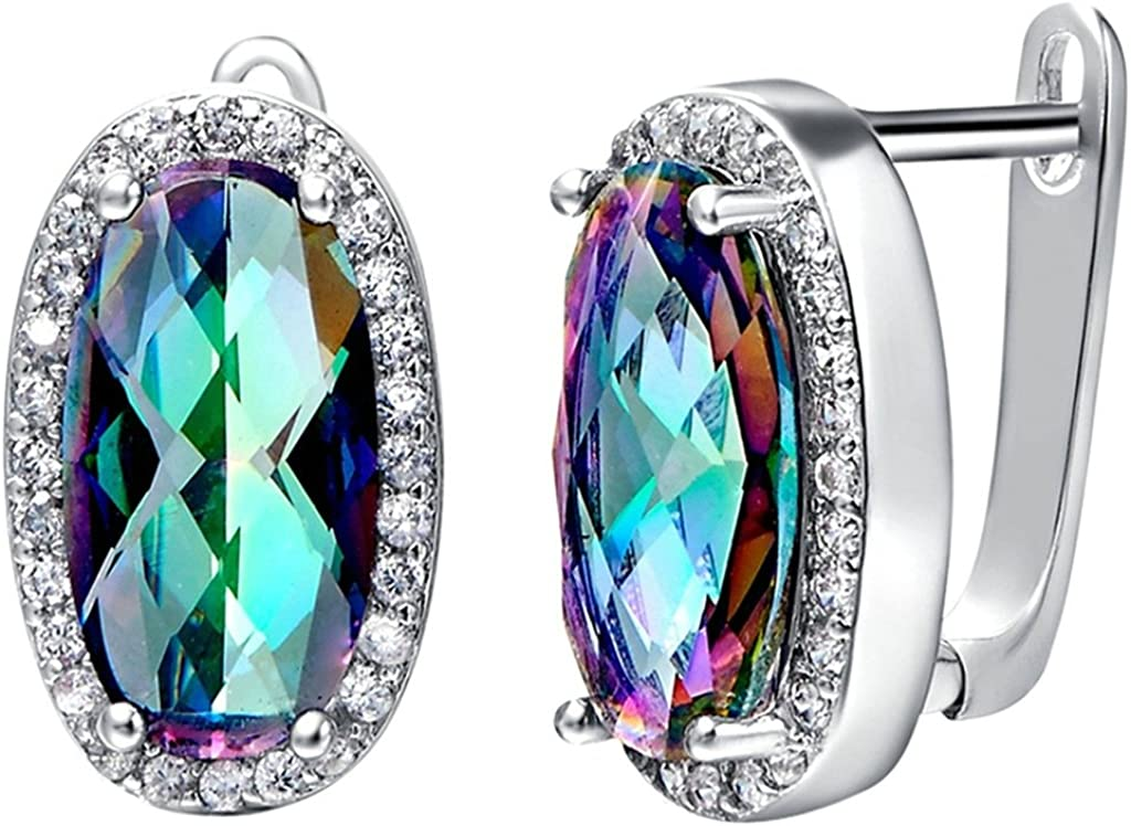 Daesar - Pendientes de mujer sin níquel, bisutería para mujer, con piedras coloridas, circonitas, plateados, pendientes de aro de boda vintage