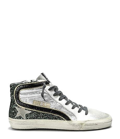 GOLDEN GOOSE G34WS595A13 Mujer Plata Cuero Zapatillas Altas: Amazon.es: Zapatos y complementos