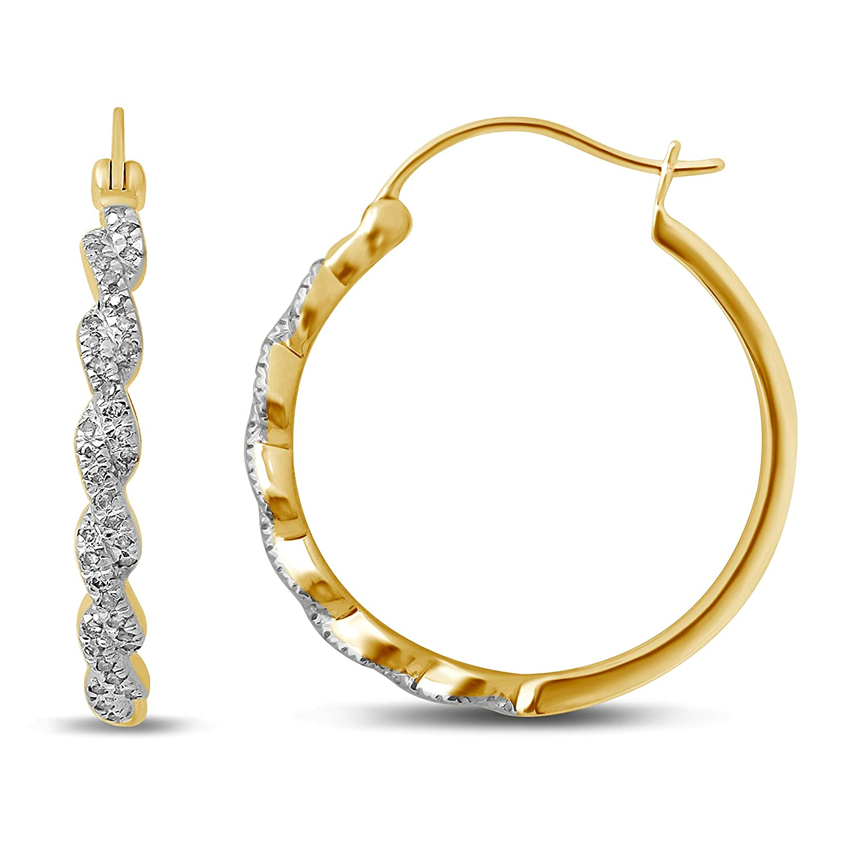 Diamond Jewel 10K Gold 1//5 Cttw Diamond Round Shape Hoop Earrings