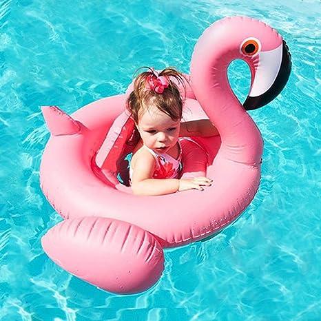 ZEEUPAI - Flamenco Rosado Flotador de Piscina Inflable para niños Asiento Flotante para bebé (Flamenco