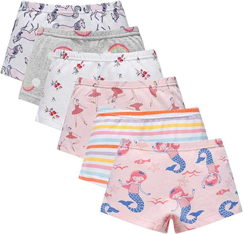 AOSKERA Girls Assorted Panties 5 Pack Underwear Cute Boyshort for 2-10 Years