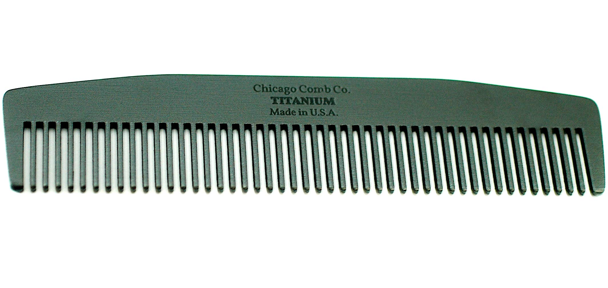 Chicago Comb Model 3 Black Titanium, Made in USA, Ultra-Smooth, Strong, Light, Anti-Static, 5.5 in. (14 cm) Long, Medium-Fine Tines, Ultimate Daily Use, Pocket, Travel Comb, Pure American Titanium by Chicago Comb