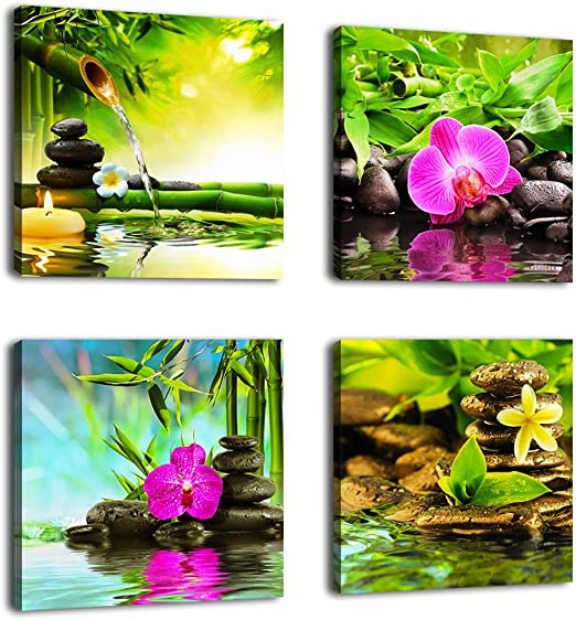 YPY Zens Stone Spa Wall Art Print Seascape Canvas Photo Painting Ready to Hang for Bedroom Living Room 4 Panels d, 12x12in