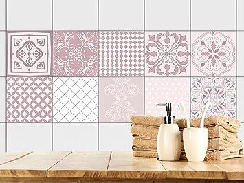 Attraktiv GRAZDesign 770348_10x10_FS10st Fliesenaufkleber Ornamente | Fliesen Zum  überkleben Im Bad Und Küche | Altrosa Mosaik |