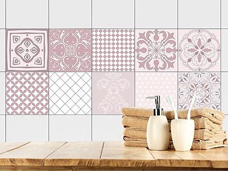 GRAZDesign Fliesenaufkleber orientalisch - Fliesenfolie Mandala - Fliesen  überkleben rosa Muster - Fliesenspiegel Küche Ornamente / 10x10cm / ...