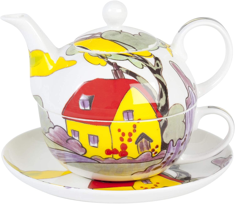 Delightful Art Deco Style Fine Bone China Tea For One Set Amazon Co Uk Kitchen Home
