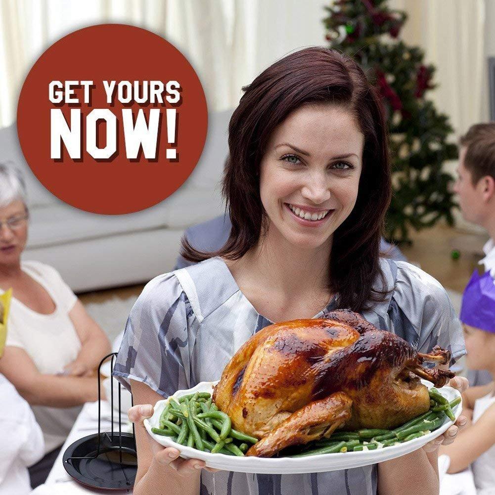 Wdj Pato De Acero Al Carbono De Bricolaje Barbacoa Vertical Chicken Grill Asador Hornear Rack Antiadherente