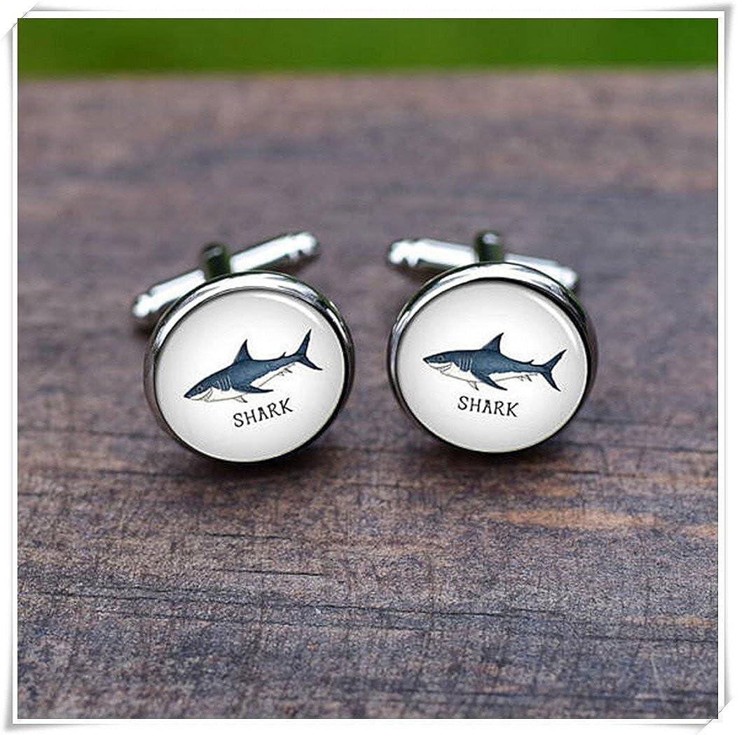 Leonid Meteor Douche Requin bleu Requin Pictures Boutons de manchette, boutons de manchette, boutons de manchette de mariage, décorations en verre, PUR fait à la main. Meteor Shower CE45