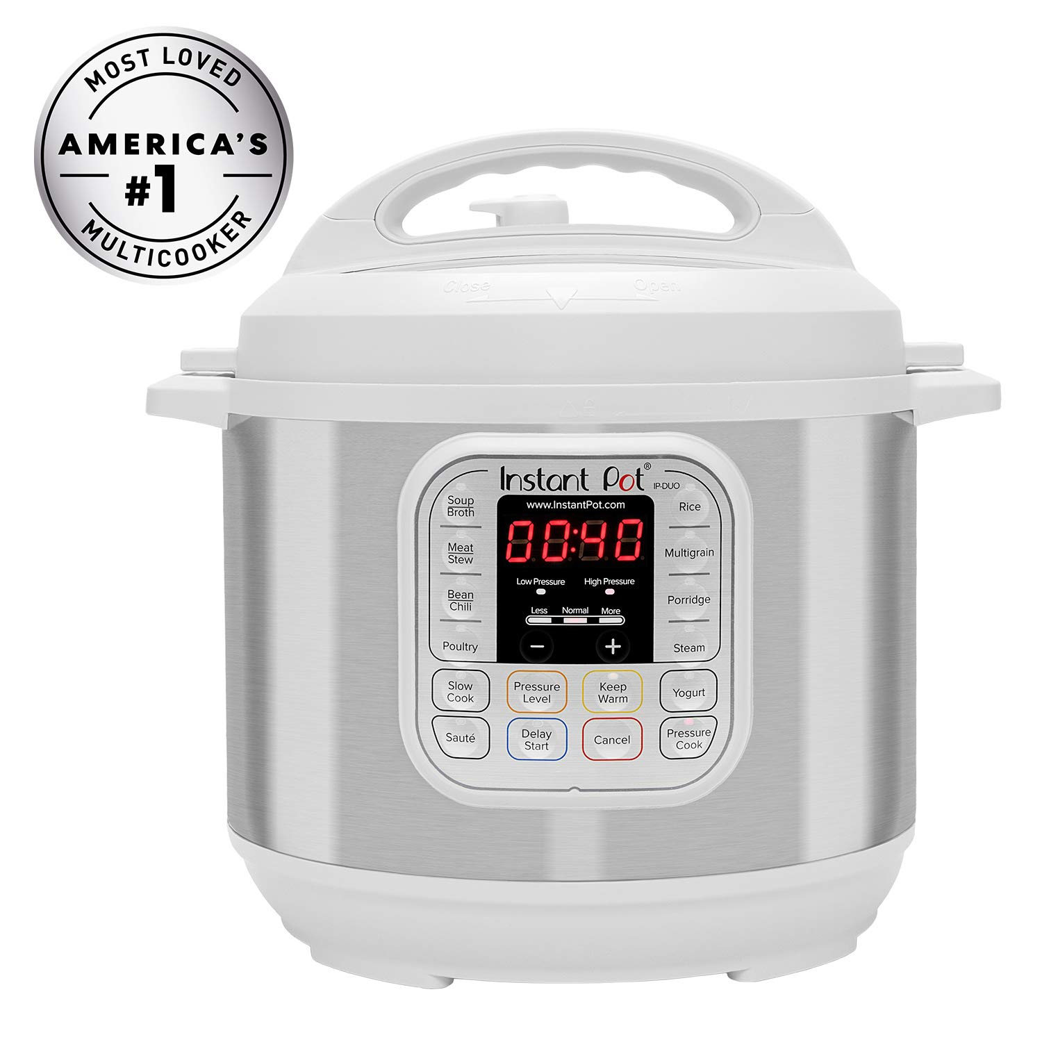 Instant Pot Duo 60 WHITE 6 Qt 7-in-1 Multi-Use Programmable Pressure, Slow, Rice Cooker, Steamer, Sauté, Yogurt Maker and Warmer, Stainless Steel by Instant Pot