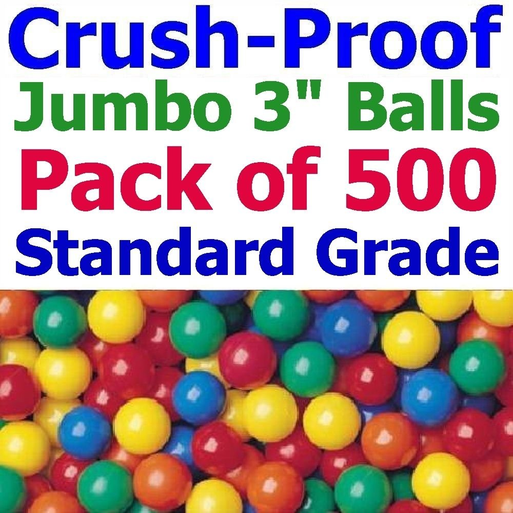 My Balls by CMS Pack of 500 pcs 3'' Crush-Proof non-PVC Phthalate Free BPA Free PE Plastic Ball Pit Balls in 5 Colors - Guaranteed Crush-Proof or Your (for Home Use Only)