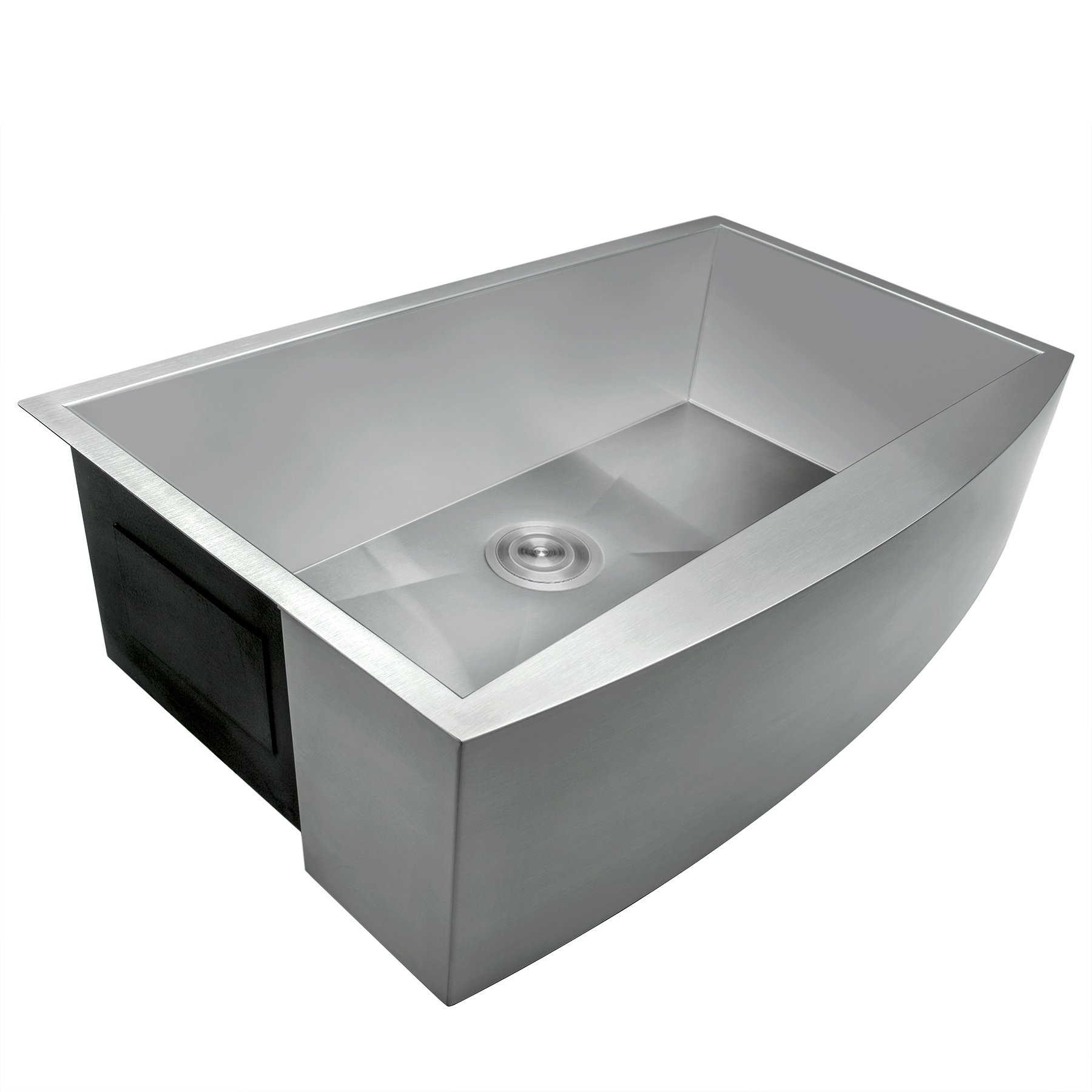 Perfetto Kitchen and Bath 33'' x 22'' x 9'' Apron Undermount Handmade 18 Gauge Stainless Steel Single Basin Kitchen Sink w/ Dish Grid & Drain Combo by Perfetto Kitchen and Bath (Image #5)