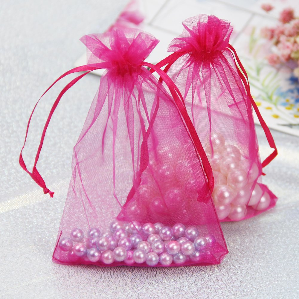 Amazon.com: iLoving Small Pink Organza Bags Gift Bags, Small Mesh ...