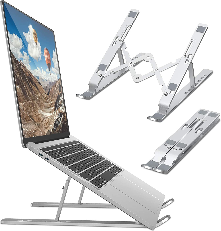 Bamoer Soporte Portátil Plegable,7 Ángulos Ajustables,Soporte para Computadora Netbooks de Ventilado,Soporte para Laptop Adjustable de Múltiples Ángulos,para Laptops/Teléfonos Móviles/Tabletas/Kindles