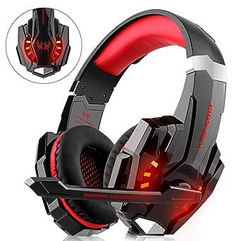 Lampara LED Bass rodean juego auriculares para PS4 Xbox una PC y juego de auriculares con