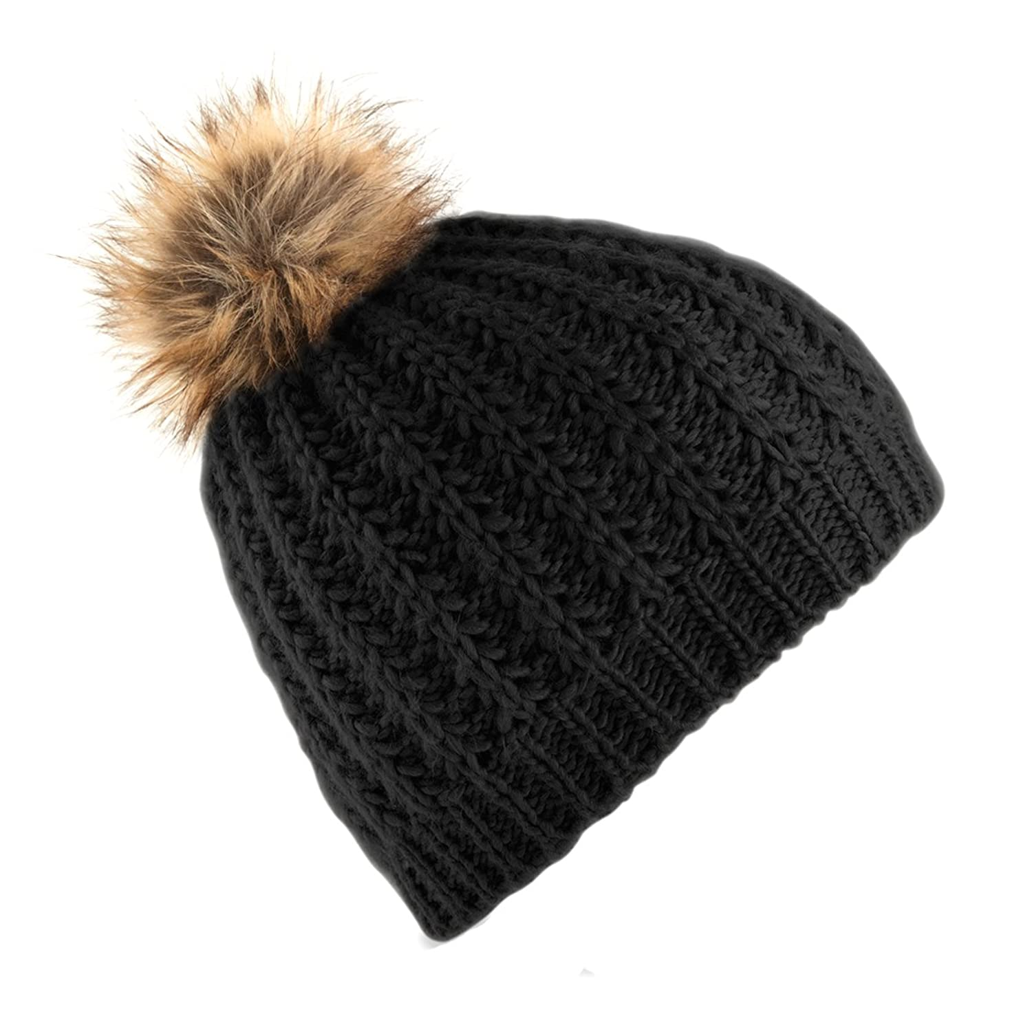 Cream Faux Fur Pom Pom Hat - Parchment N Lead 0b2bb1459738