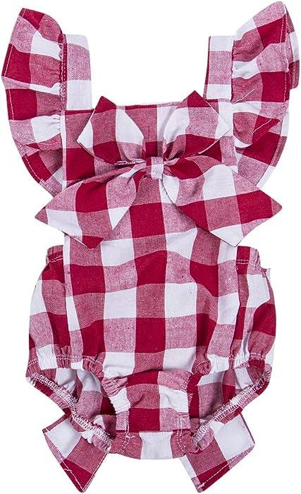 e44c3af185 Hotone Newborn Infant Baby Girls Clothes Plaids Checks Romper Jumpsuit  Bodysuit Outfits