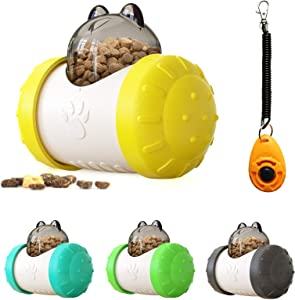 Enrichment Toys for Dogs,Cat Hunting Feeder,Dog Entertainment Toys for Home Alone with Friendly ABS Material,Swing Bear Food Dispensing Dog Toy Yellow +White