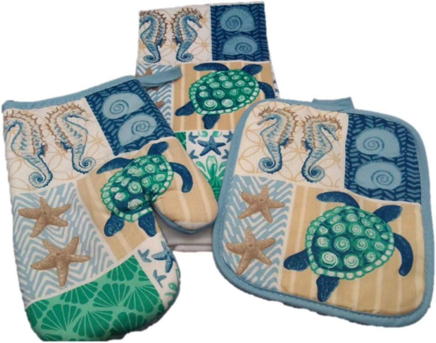 Kitchen Linens - Potholder Set (3 Pc) Sea Horse Mingles with Sea Turtles and Star Fish - Dish Towel - Oven Mitt - Pot Holder - Hand Towel - Kitchen Decor