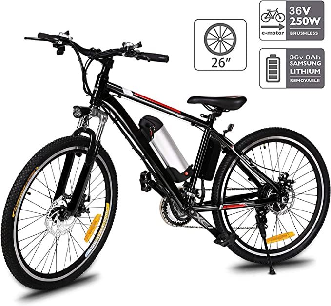 Hiriyt 26'' Electric Mountain Bike with Removable Large Capacity Lithium-Ion Battery (36V 250W), Electric Bike 21 Speed Gear and Three Working Modes