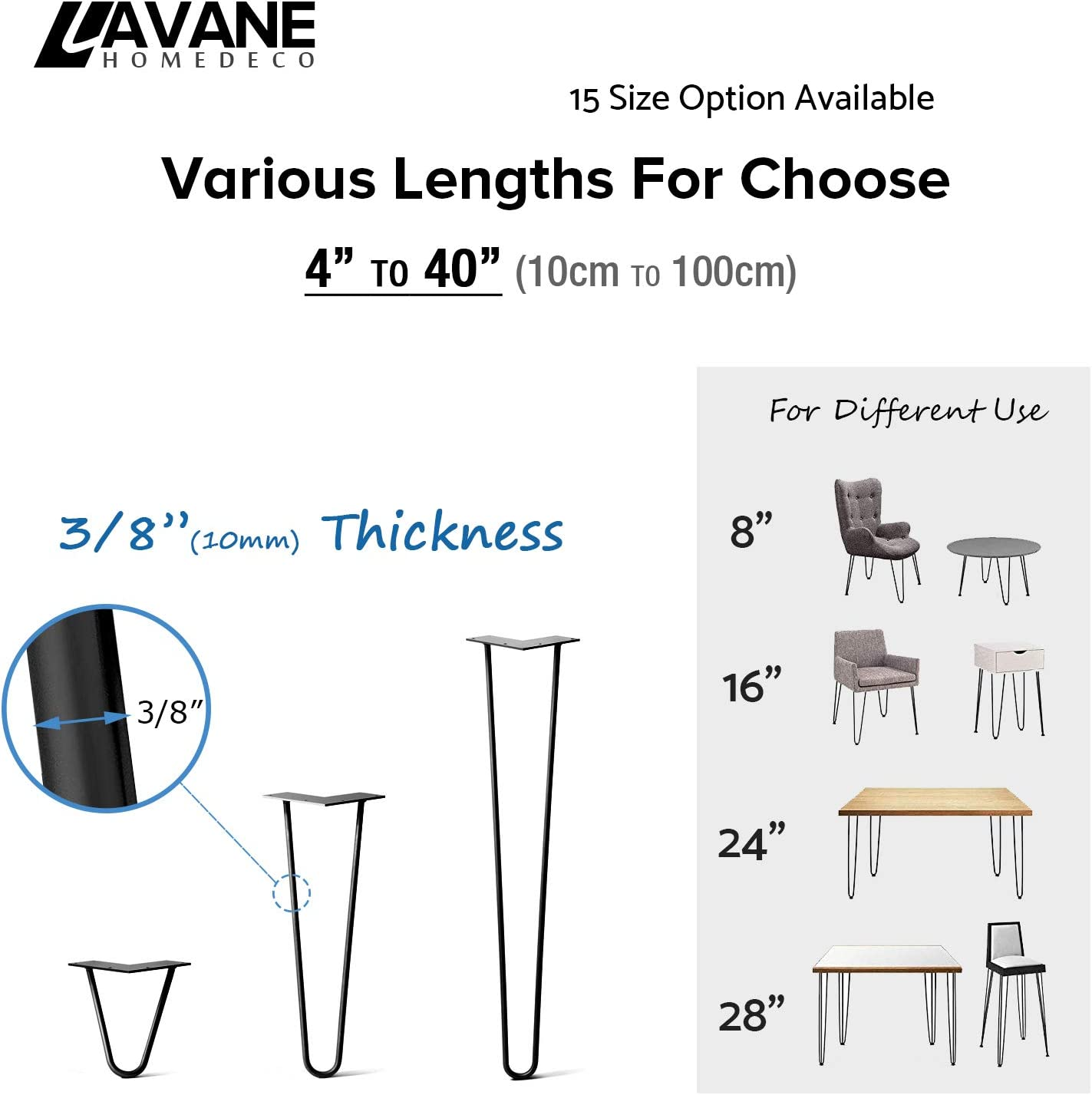10cm Hairpin Table Legs La Vane 4PCS Mid-Century Modern DIY Metal Furniture Legs with Floor Protectors /& Screws for Coffee and End Table Cabinet TV Stand 4 inch