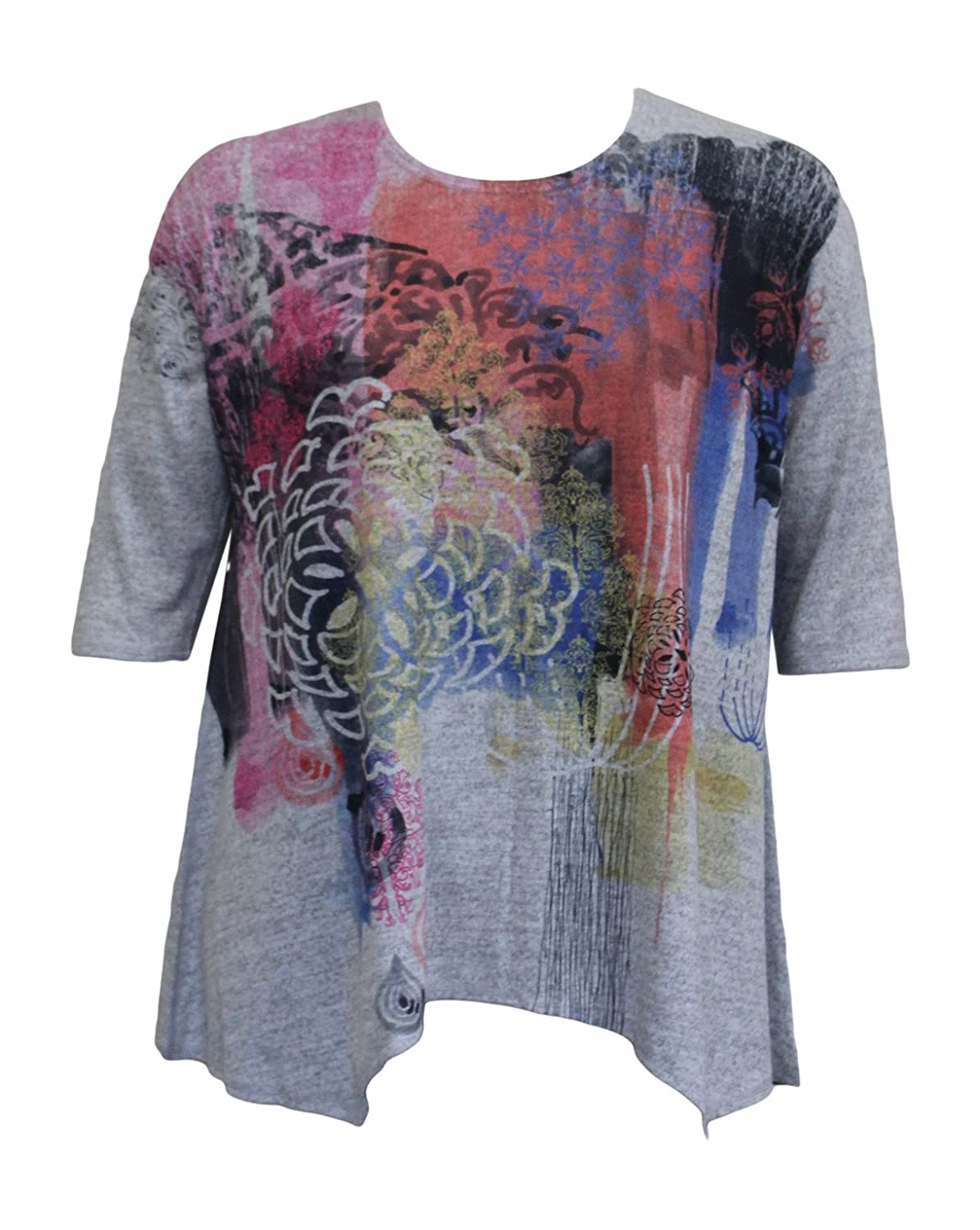 Et'Lois Women's Abstract Floral Swing Tunic Top