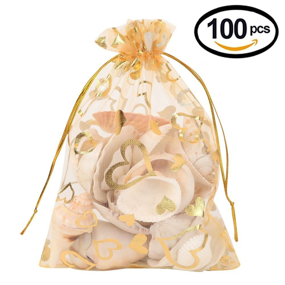 Wuligirl 100pcs 4x6 Drawstring Organza Jewelry Candy Pouches Wedding Party Favor Gift Bags iPhone 8 Plus/7 Plus/6 Plus Bags for Women Men Girls (Golden Love)