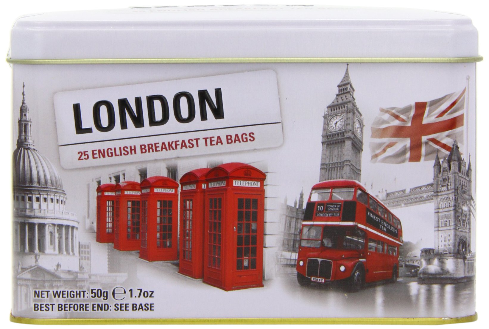 New English Teas London Selection English Breakfast Teabags Tin (Pack of 1, T...