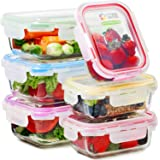 Glass Food Storage Containers with Lids - 6 Pack, 2 Sizes (35 Oz, 12 Oz) - Meal Prep Lunch Boxes - Microwave, Fridge…