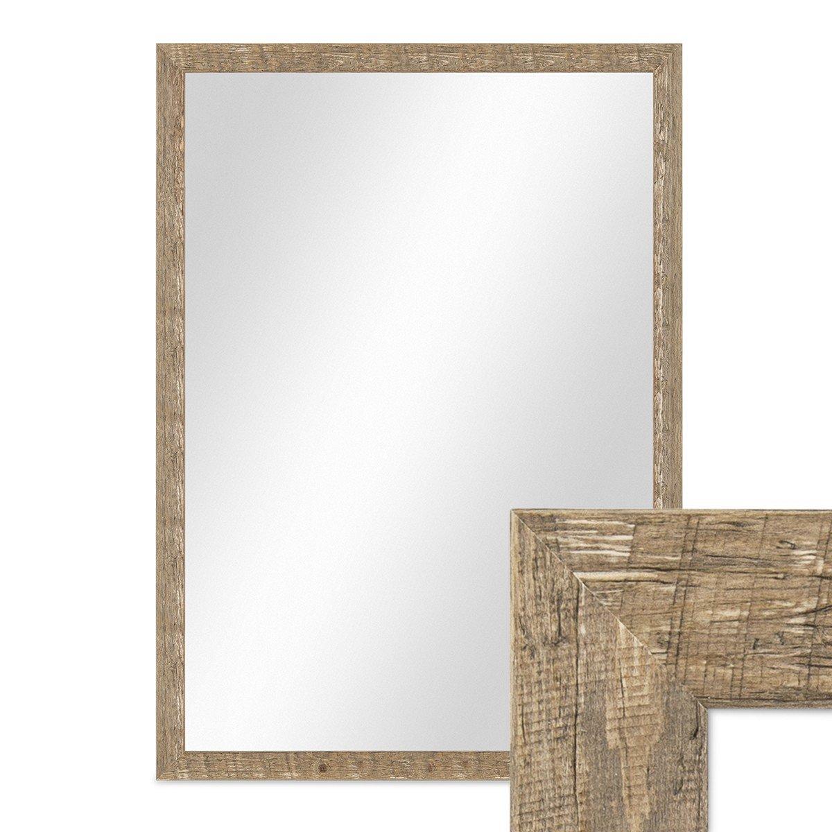 PHOTOLINI Wand-Spiegel 56x76 cm im Holzrahmen Strandhaus-Stil Eiche-Optik Rustikal Spiegelfläche 50x70 cm