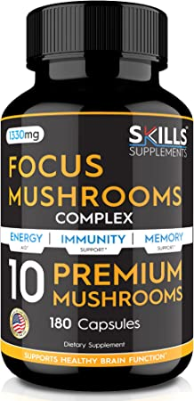 Skills Mushroom Supplement - Lions Mane, Cordyceps, Reishi, Shiitake and More - 180 Capsules – Nootropic Brain Supplement, Complex Formula for Immunity, Stress Relief, Memory & Liver Support
